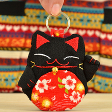 1pcs plutus cat National wind Handmade cloth art smoked pull Key Wallets Women lady/Men children Keychain Holder Purse Case Bags