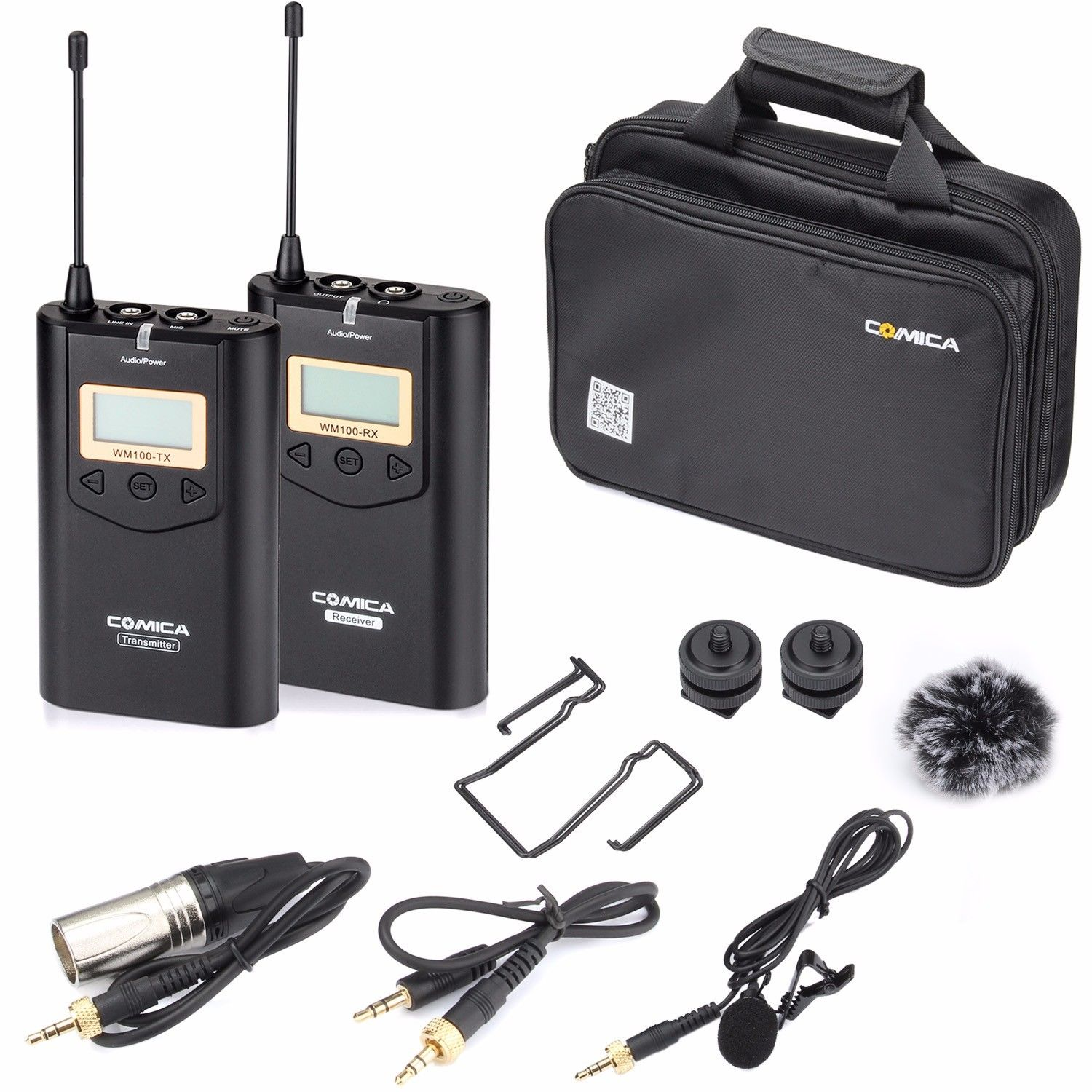 Comica CVM WM100 UHF 48 Channels Wireless Lavalier Microphone Kit for Camera