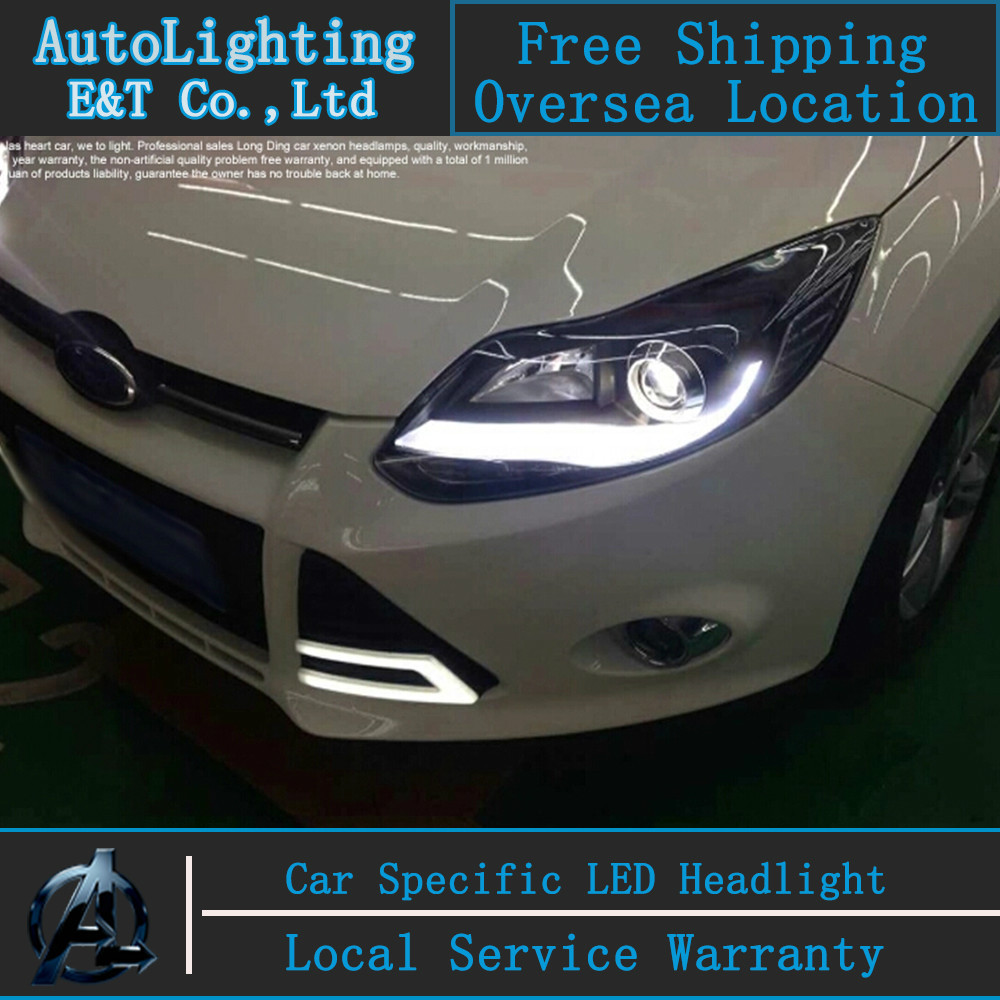 Car styling LED Head Lamp for Ford Focus 3 led headlight assembly 2012-2014 A-type led drl H7 with hid kit 2pcs. hireno headlamp for 2016 hyundai elantra headlight assembly led drl angel lens double beam hid xenon 2pcs