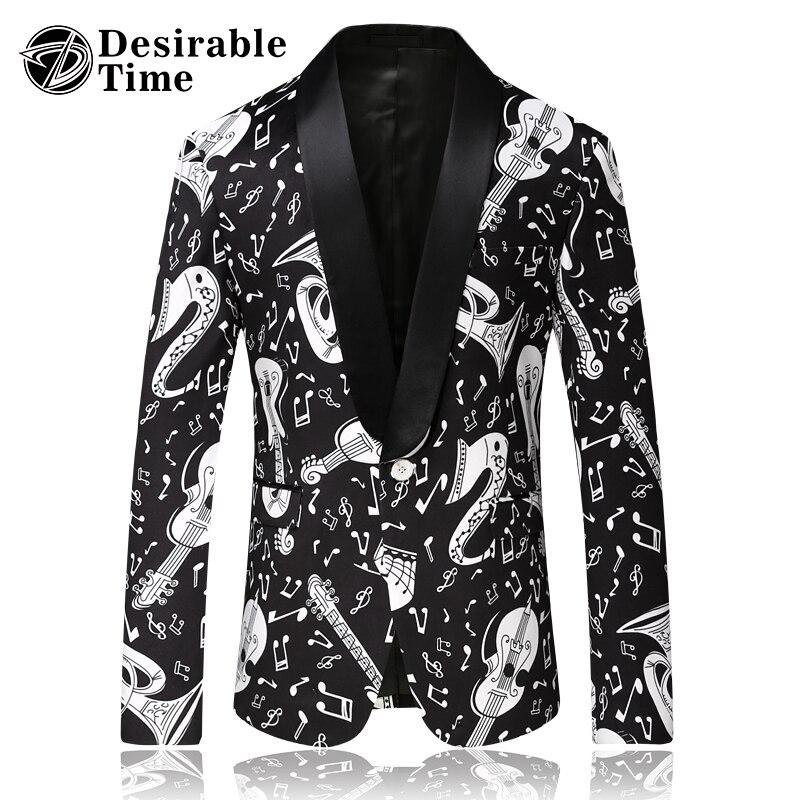 Men Black Blazer Pattern Slim Fit Shawl Collar Mens Casual Blazers Print Stage Costumes for Singers DT517