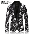 Men Black Blazer Pattern Slim Fit Shawl Collar Mens Casual Blazers Print Stage Costumes for Singers DT517