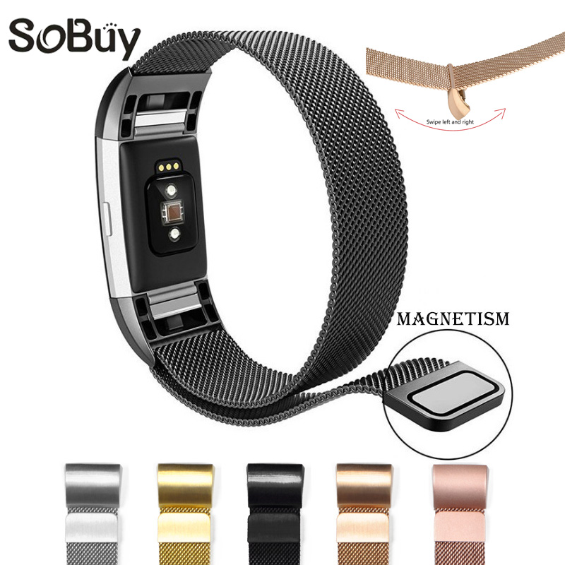 So buy Magnetic Milanese Loop Wrist strap Charge2 watch Bracelet Stainless Steel Band Adjustable for Fitbit Charge 2 large Small