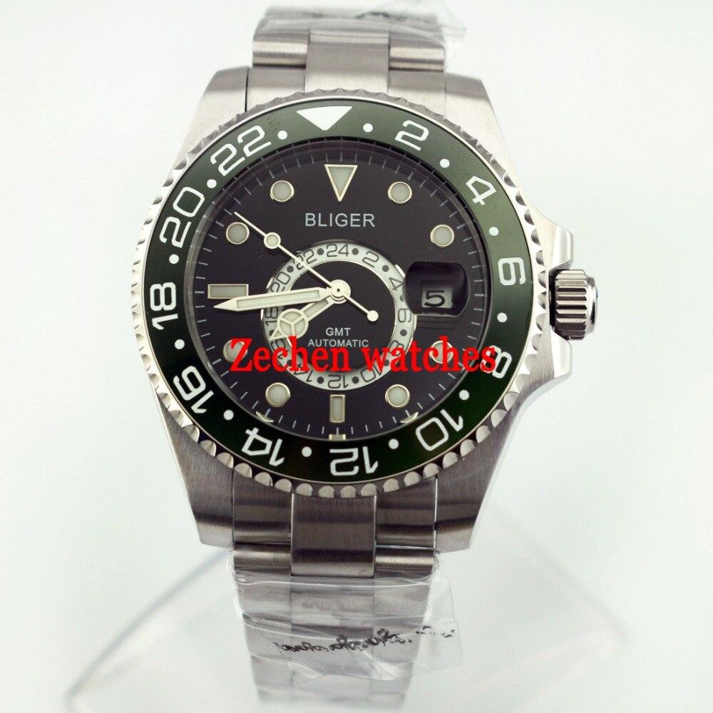 Bliger 43mm Ceramic Bezel green dial Sapphire Steel GMT Automatic Luminous Mens Watch цена и фото
