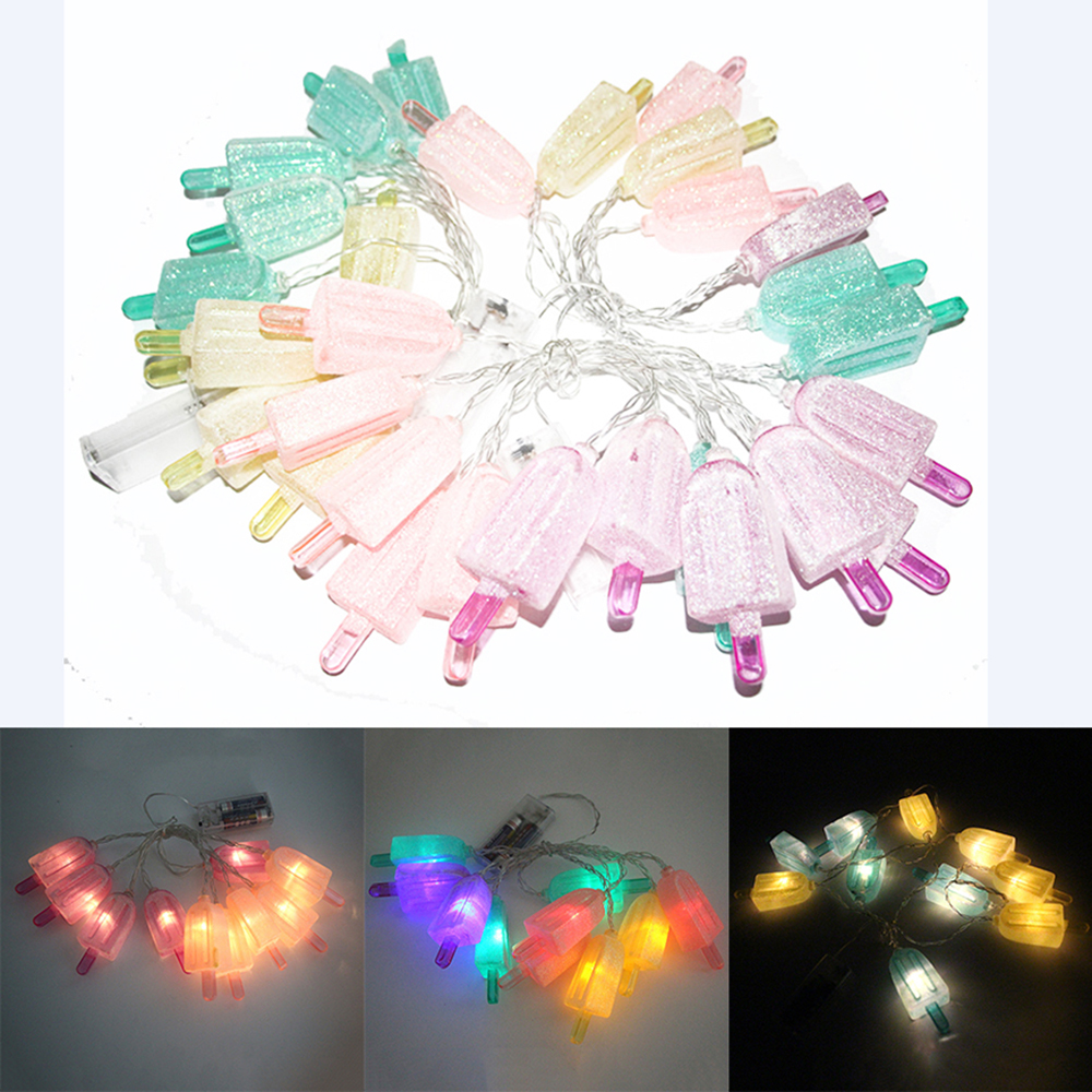 2017 Newest 1.5M 10 LEDs Ice Cream Popsicle String Lights Festival Christmas Light For Home Garden Patio Lawn Party Decorations