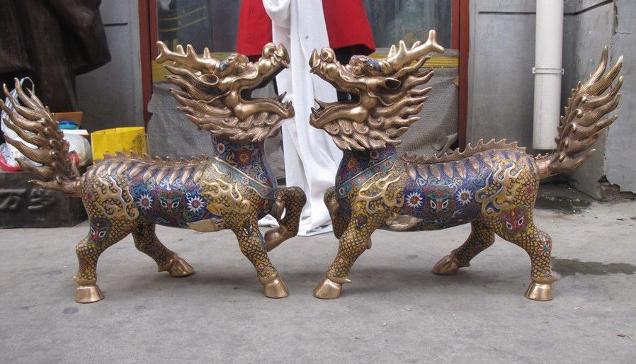 Decorated China Regius 100% Pure Bronze cloisonne Gardens evil Foo Dog Lion kylin Pair wedding copper Decoration Brass
