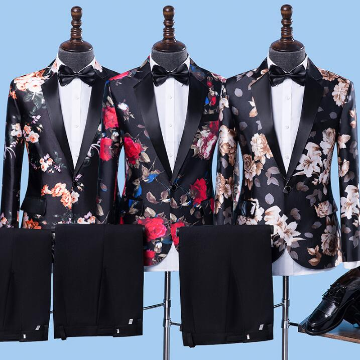 Black Blazer Men Formal Dress Latest Coat Pant Designs Suit Men Fashion Terno Trouser Marriage Printing Wedding Suits For Men's