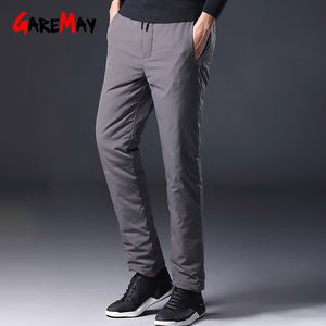 Image 4 - Homem inverno para baixo calças masculinas de pato branco para baixo calças de homem streetwear inverno engrossar quente preto bolsos casuais dos homens para baixo