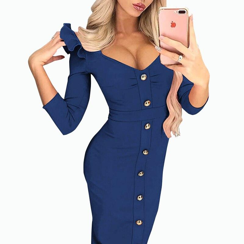 Облегающее элегантное платье миди для деловой женщины, три четверти, пуговицы, платье с оборками, женское сексуальное платье с v-образным вы...