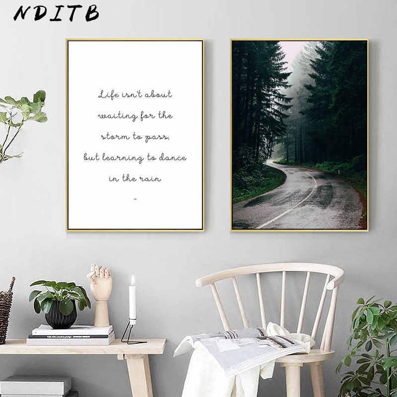 スカンジナビアスタイルキャンバスポスターやプリント曇森風景ウォールアートの絵画ノルディック装飾絵の家の装飾