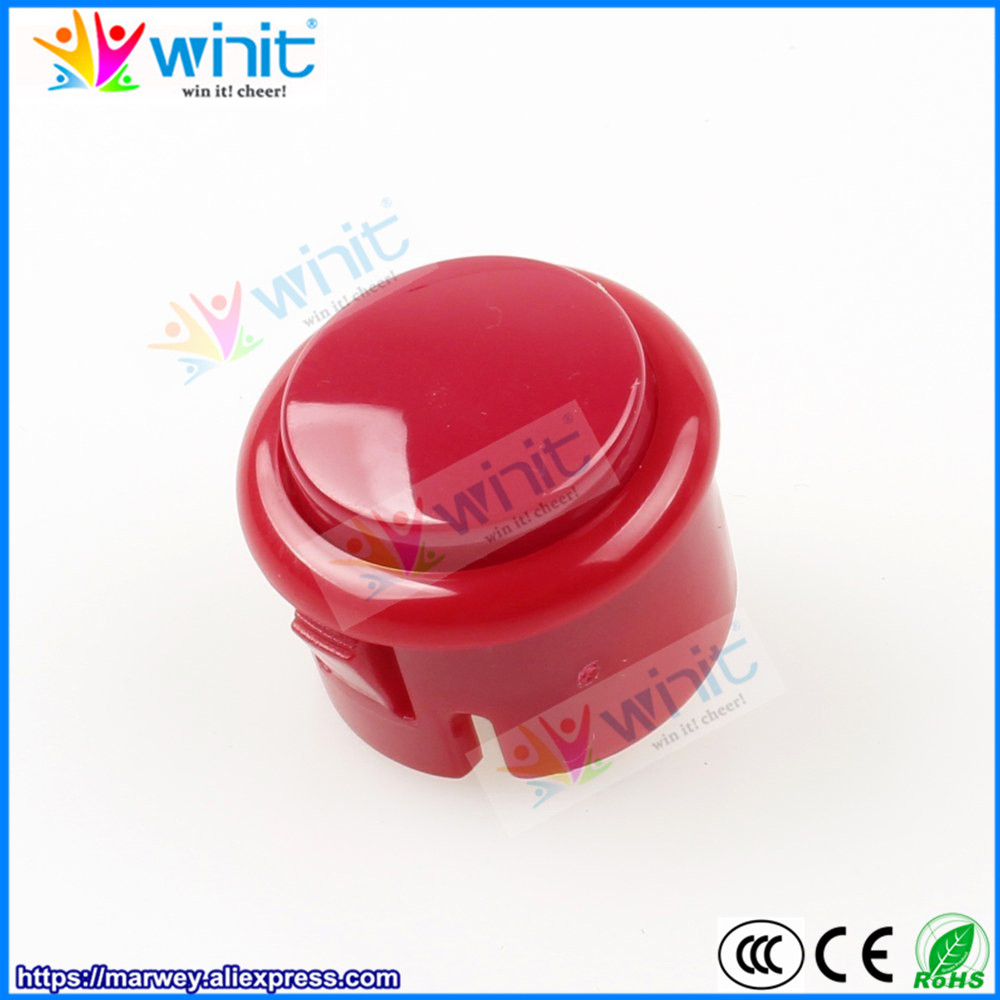 Free Shipping 10pcs 30mm red arcade push button switch built-in micro switch DIY arcade game machine accessories