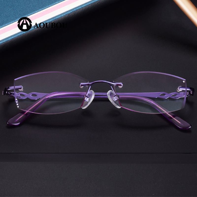 Diamond Cut Trimmings Luxury Frame and lens purple Lady s Frameless Reading Glasses presbyopic canetas eyewear