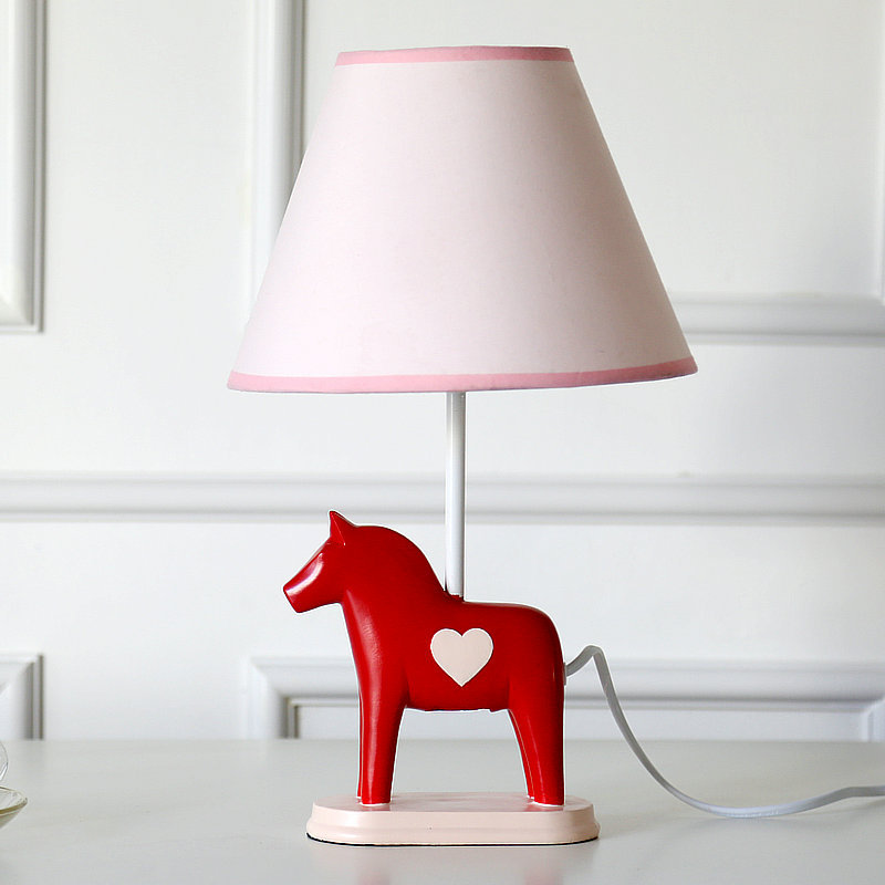 ФОТО Lovely Cartoon Healthy Horse Resin Fabric E27 Dimmiable Table Lamp As Birthday Gift For Bedroom Bedside Decor 1818