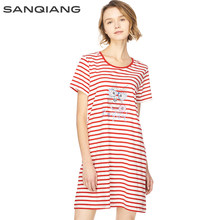 9379a15443 SANQIANG Nightdress Women New Striped Summer Breathable Home Round Neck Sleepwear  Female Dog Printing Loose 100% Cotton Girls