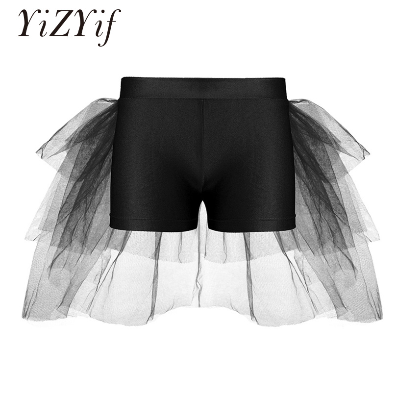YiZYiF Kids Girls Shorts Bottoms With Attached Bustle Tiered Mesh Ballet Dance Stage Performance Ballet Costume Girls Dancewear