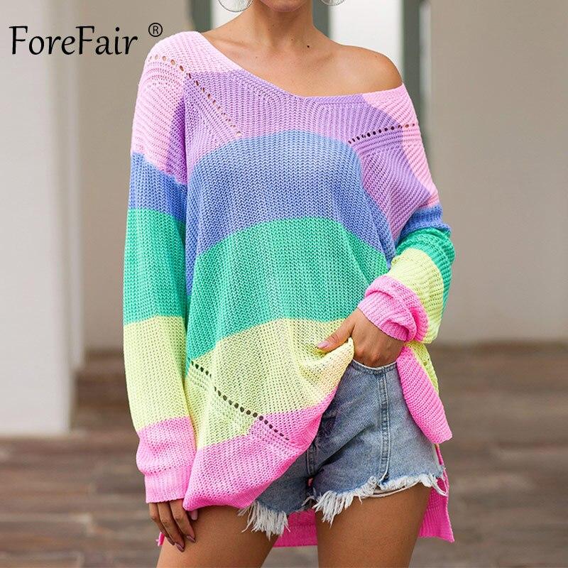 Forefair surdimensionné arc-en-ciel femmes pull décontracté grande taille multicolore tricoté automne hiver 2019 pull rayé femme pull