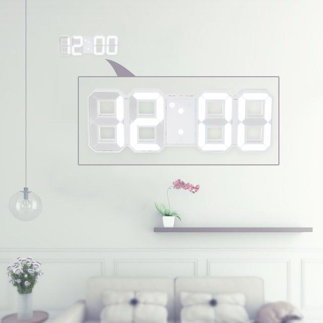 Wall Clock Home Decor Large LED Digital Wall Clock 12H/24H Time Display With Alarm and Snooze Function Adjustable Luminance