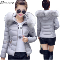 Winter Jacket Women 2017 New Short Down Cotton Coat Women Slim Wadded Jacket Fur Collar Hooded Outerwear Fashion Jacket Coat