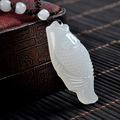Natural White Jade fish wealth luck Carved jade amulet chinese FUGUIYOUYU propitious pendant