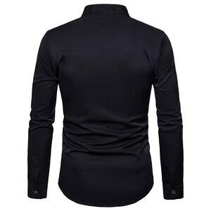 Image 2 - Ab boyutu erkeklerin gündelik uzun kollu gömlek standı boyun çin tarzı üstleri gömlek erkek nakış desen pamuk blend gömlek