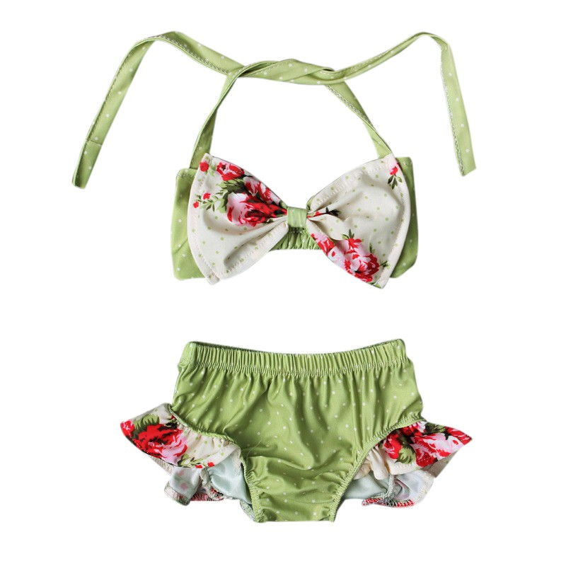 Summer New Style And Popular Swimsuit With Floral Print Comfortable For Dressing In The Beach With Green Color