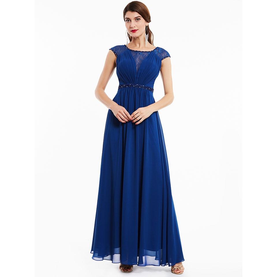 Dressv Dark Royal Blue Beading Scoop Neck Long Evening Dress Sleeveless Wedding Party Formal Dress A Line Evening Dresses
