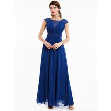 Dressv dark royal blue frezowanie z wycięciem długa suknia bez rękawów ślubna formalna sukienka na przyjęcie wieczorowe tanie tanio Suknie wieczorowe Formalna wieczór Scoop NONE Poliester Koronki -Line Długość podłogi Szyfonowa Naturalne 12955187