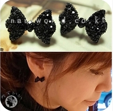 OMH wholesale 12pair off 48%=$0.29/pair EH04 sweet paragraph accessories full crystal bow rhinestone stud earring 5g