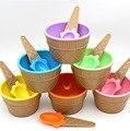 Um lindo conjunto de tigela com uma colher de sorvete maravilhoso Crianças do presente do amor Sobremesa taças de sorvete sorvete copo Seis cores