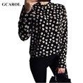 Gcarol mujeres euro estilo floral blusa camisa de la manera ol de moda de bajo perfil elegante de gran tamaño de algodón mezclas tops para 4 temporada