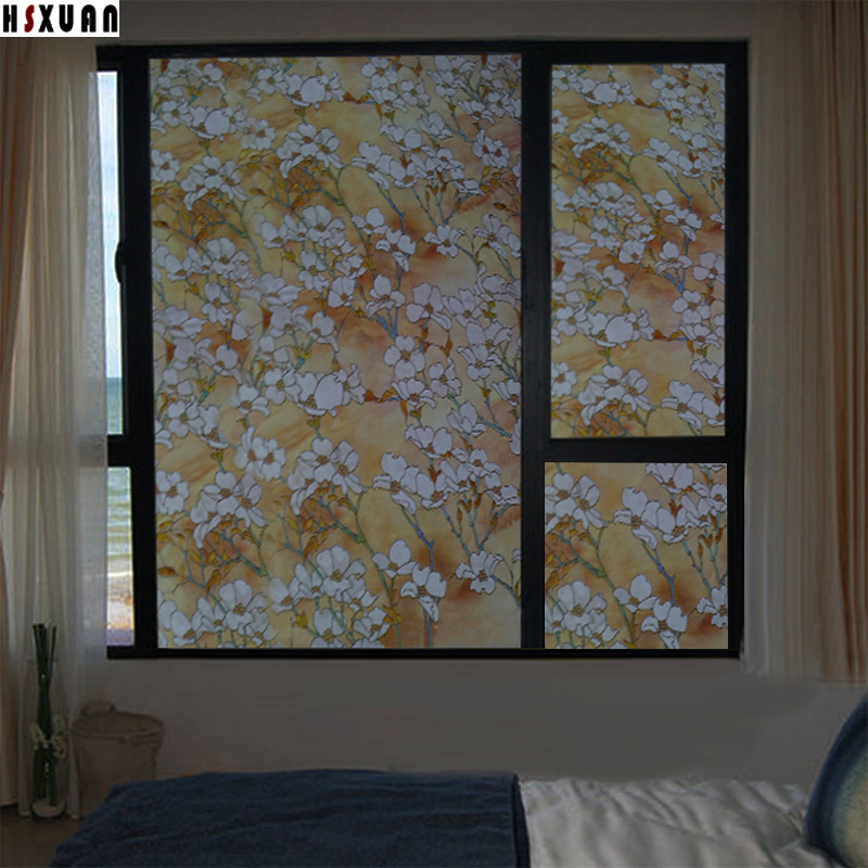 waterproof glass stained sticker 70x100cm flower removable tint home decor film self adhesive bedroom frosted window film - Frosted Window Film
