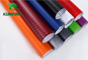 KUNFINE 3D Carbon Fiber Vinyl Car Wrap Car stickers and Decals Motorcycle Car Styling Accessories Waterproof(China)
