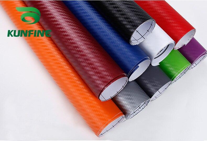KUNFINE vinilo 3D de fibra de carbono revestimiento para coche pegatinas y calcomanías de coche accesorios de estilo de coche de motocicleta a prueba de agua