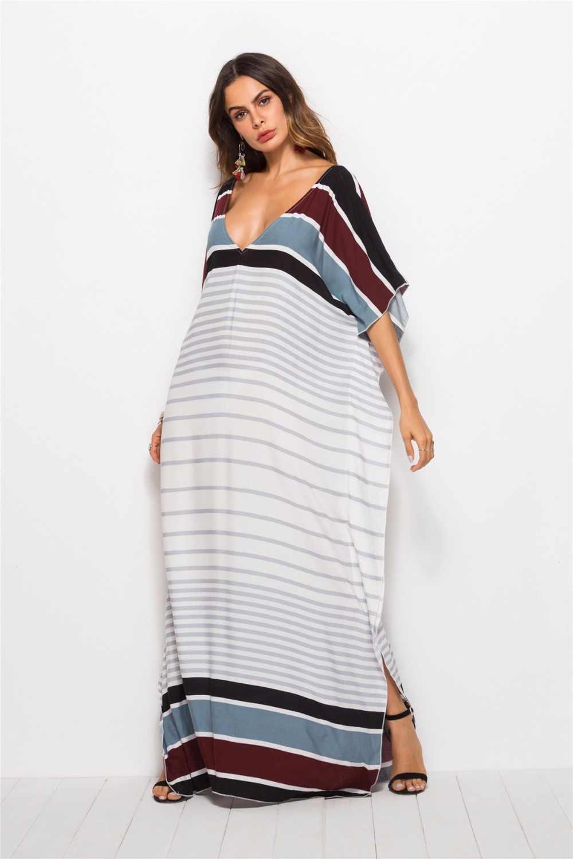 95a44f0419531 BOHOFREE Arabian Style Striped Kaftan Oversized Loose Long Gown Street  Fashion Maxi Robe Hippie Dress Women Beach Dresses