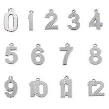 Skyrim 20 Uds 0 1 2 3 4 5 6 7 8 9 10 11 12 Número de la suerte de cumpleaños encanto DIY pendientes plata colgantes para pulsera collar pendiente