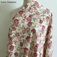 10 meters 100% cotton twill elegant PINK RED YELLOW flowers floral fabrics for DIY kids crib bedding girl apparel dress handwork