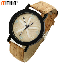 MINHIN Wood Grain Watches Vintage Quartz Watch Wristwatch Gift For Women Casual Faux Leather Female Wholesale Relojes Mujer