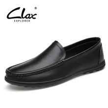 CLAX Mans Leather Shoes Slip on 2019 Spring Summer Male Casual Boat Shoe Genuine Mens Moccasins Breathable Soft