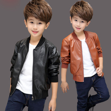 INS hot Baby Boys PU Jackets 1-13 year old Threaded round neck jacket