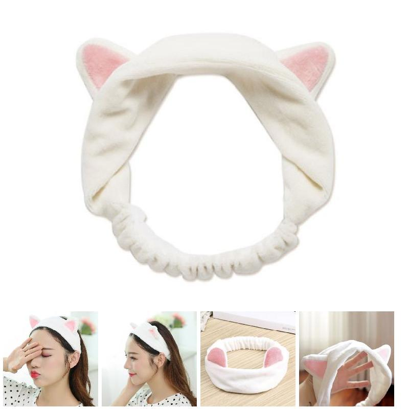 2019 New Sweet Women Elastic Velvet Headband Adorable Cats Ear Hair Band Makeup Cosmetic Tool WML99