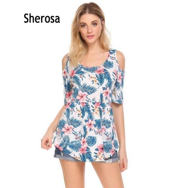 Sherosa Лето холодной плечо рубашка Повседневное круглым вырезом короткий рукав пикантные Цветочный принт пикантные Топы корректирующие чешские одежда Для женщин Блузки для малышек