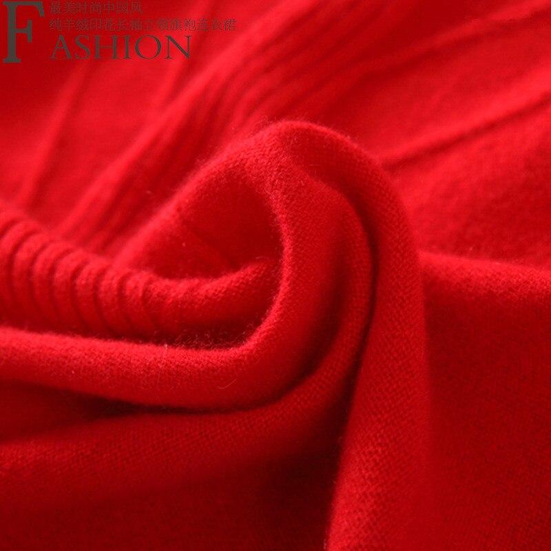 Женское трикотажное платье свитер высшего качества из 100% кашемира в стиле cheongsams, с длинными рукавами, бежевый, красный, серый, 3 однотонных ц... - 3