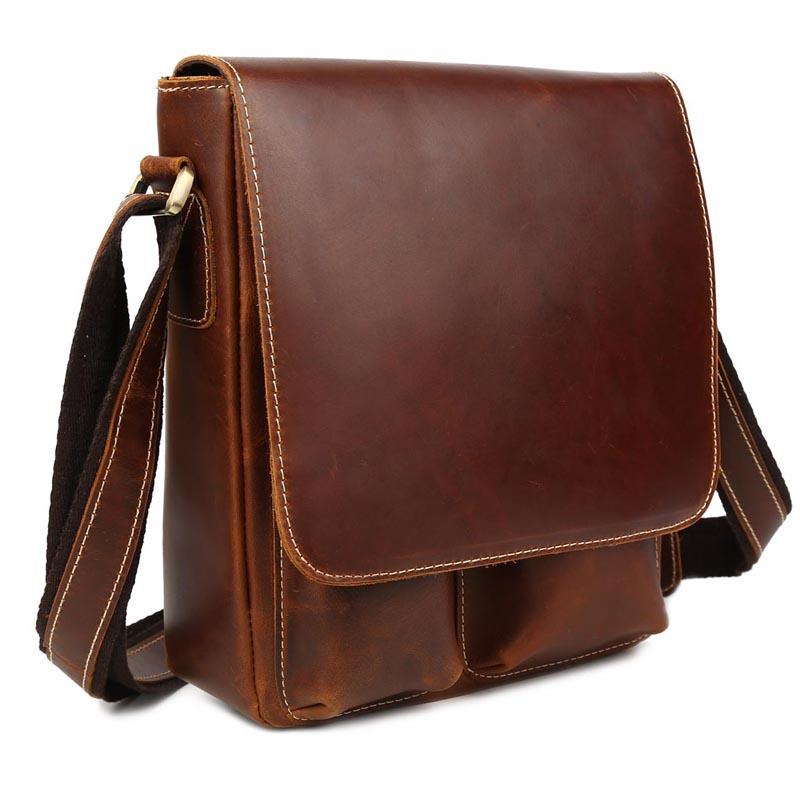 Mens leather Vintage flap top closure Casual shoulder messenger handbag