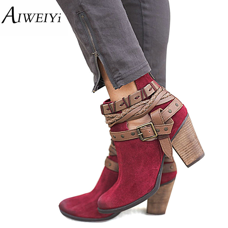 AIWEIYi Autumn Winter Women Ankle Boots New Fashion Belt Buckles Short Boots For Girls Casual Shoes Red Grey Woman Ladies Boots
