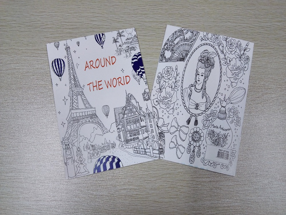 16 Pages Around The World Coloring Book , books for Children adult secret garden Series Kill Time Painting Drawing Books(China)