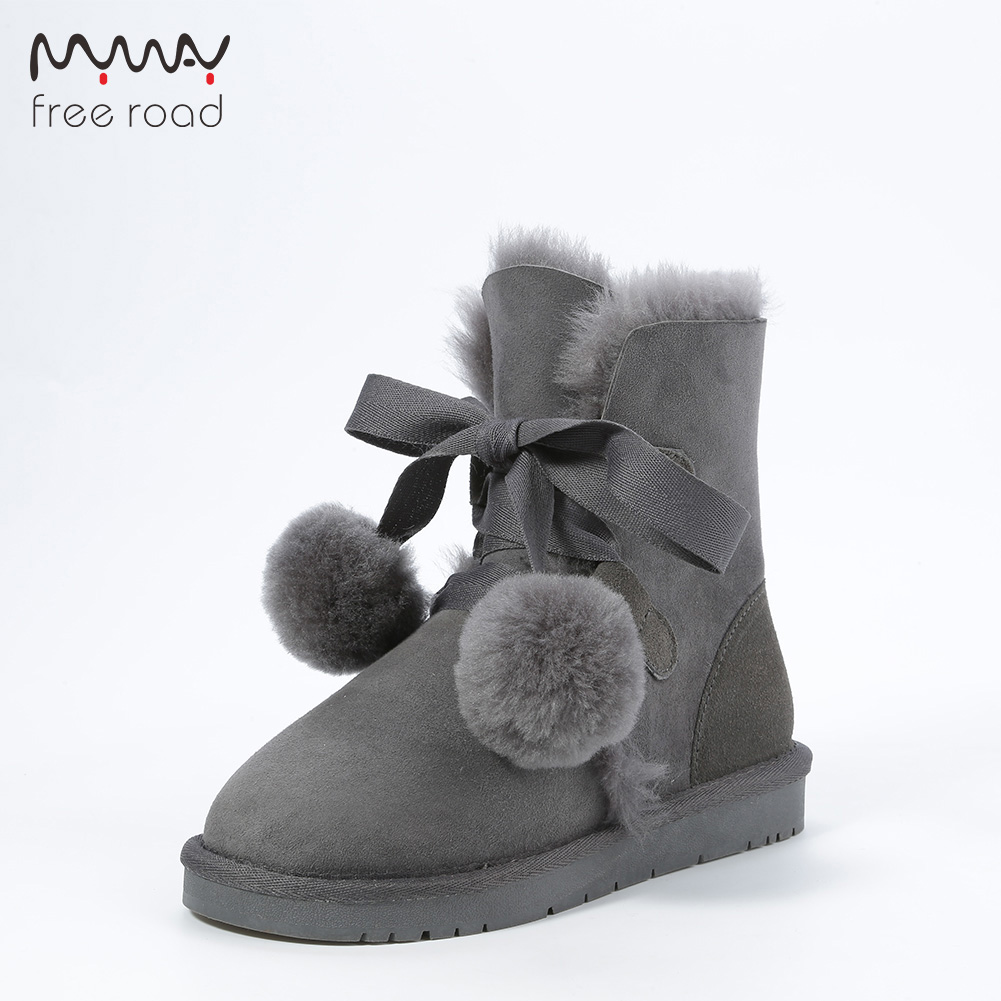 Women Ankleboots Sheepskin Leather Fur Lined Women Winter Suede Snow Boots Pom-pom Style Ankle Winter Shoes For Sweet Girls
