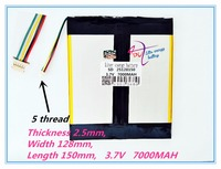 5 Thread Polymer Rechargeable Batteries 25128150 3 7V 7000MAH Tablet PC General Battery 2575128 2 Perfect