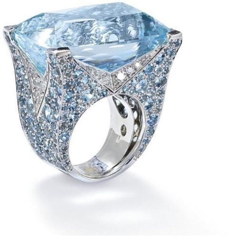 CC Luxury Rings For Women Blue Cubic Zirconia Big Ring Bridal Wedding Engagement Ring Fashion Jewelry Drop Shipping CC2220