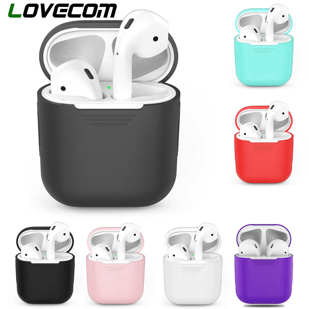 LOVECOM Silicone Bluetooth Wireless Earphone Box For Apple AirPods Charging Box For AirPods Protective Cover Accessories