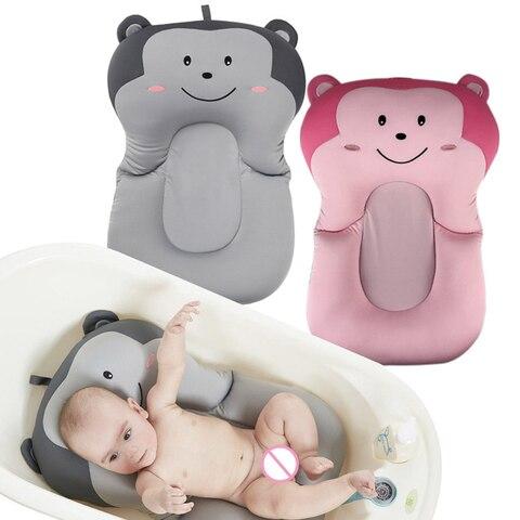 seguranca antiderrapante bebe banheira esteira nova bonito dos desenhos animados macaco bebe banheira dobravel almofada