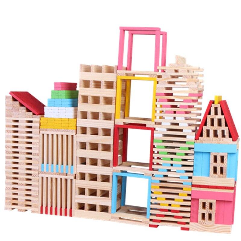 150 pcs Bébé Jouets 3D En Bois Puzzles DIY Villa Train Éducatifs Jeux de société Halloween Brinquedos Cadeau D'anniversaire pour Enfants Jouets